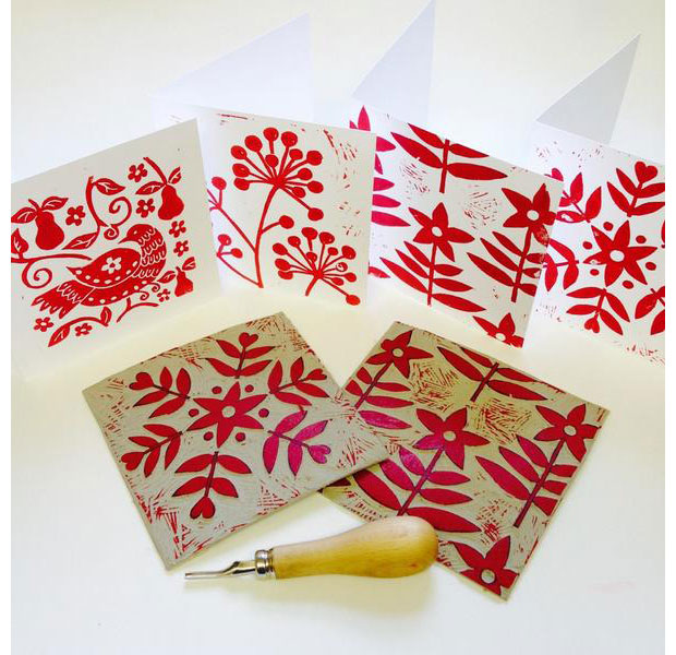 linoprint Christmas Cards